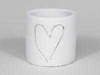 Topf Heartbeat WEISS 349205 Ø12x12cm Zement