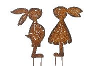 Hasenpaar rostige Hasenliebe ROST 440387 Hasenmann + -frau 16x0,5xH34cm+17x0,5xH34cm Stec