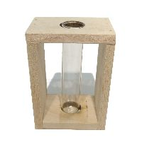 Reagenzglas im Holzrahmen NATUR-WASHED 7x5x10cm (LxBxH) 1 Glas Ø19xH100mm 57035001