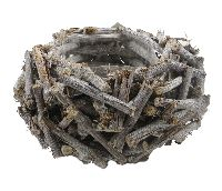 Pflanzschale aus Weideästchen GRAU 16614 Ø24xH13cm Öffnung=Ø12cm
