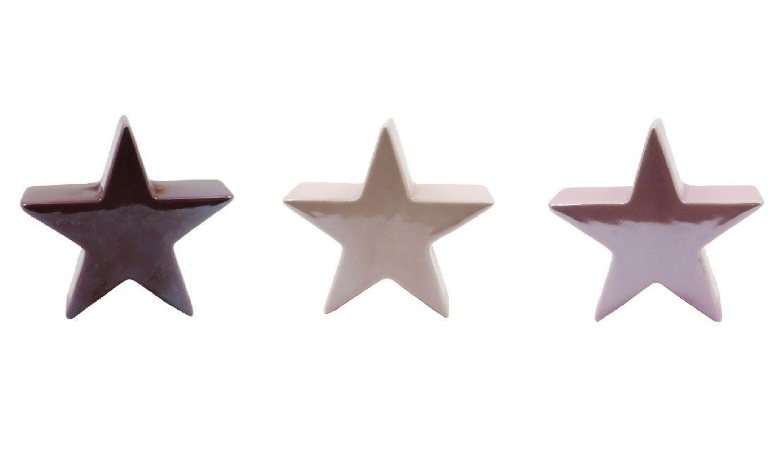 Dekoobjekt Shiny BURGUND-ROSÈ-PINK Stern 10x4cm 48812 14 17