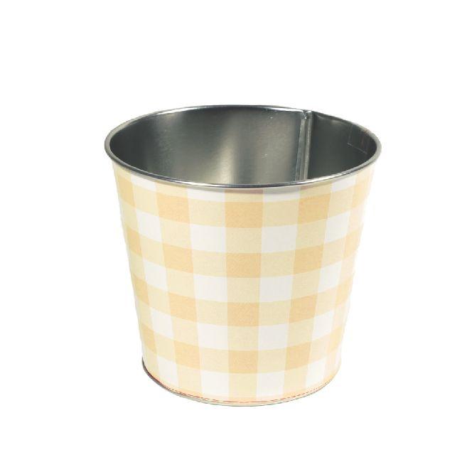 Zinktopf Fotodruck Sommer-Karo-Mix gelb Ø12,9cm H10,7cm 40 461