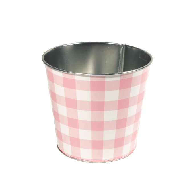 Zinktopf Fotodruck Sommer-Karo-Mix rosa Ø12,9cm H10,7cm 40 470