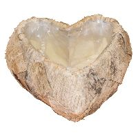 Birkenherz zum Bepflanzen Holz mit Birkenrinde 65318128 28x28xH11cm mit Folie