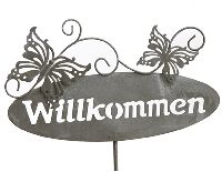 Gartenstecker Willkommen grau Metall 70372 Schmetterlin 25x14cm  Gesamtlänge=110cm