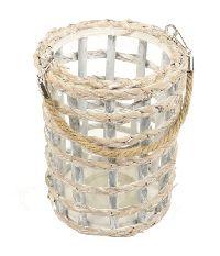 Windlicht Flechtoptik mit Glas WASHED 861802119 Ø17cm H21cm zzgl. Seilhenkel
