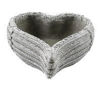 Herz zum Bepflanzen GRAU 14399 Zement Flügelherz 23x23x10cm Pflanzherz 53561023