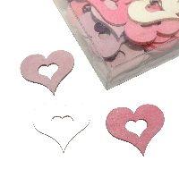 Streudeko Sweet Colour ROSA-WEISS-PINK 11992 Herzen 4cm Holz