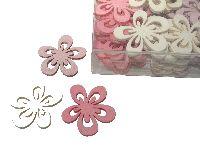 Streudeko Sweet Colour ROSA-WEISS-PINK 11994 Blumen 4cm Holz