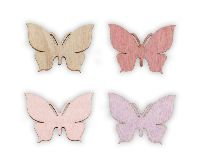 Streudeko Harmony rosa-lila-natur-malve 20761018 Schmetterlinge 3,5-4cm  Holz