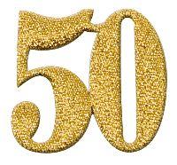 Streudeko Zahlen GOLD  6197 50  Breite:4cm