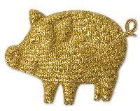 Glücksschweinchen Streudeko GOLD  6622 5cm  Silvesterdeko
