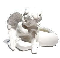 Engel mit Herz zum Bepflanzen WEISS 13583 Herzöffn.6,5x8,5cm 15,5x11,5x10,5cm Poly