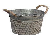 Metallschale Wabenmuster graubraun 358805 rund Ø21x10cm mit Seilhenkel