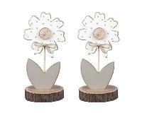 Blume zum Stellen grau-weiss-natur 363847 21,5cm Holz