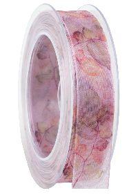 Band Blättervielfalt rosa 410a 21 formstab.Kante B:25mm L:20Meter