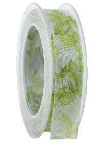 Band Blättervielfalt grün 410a 53 formstab.Kante B:25mm L:20Meter