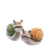 Schnecke Thilda GRAU-GRÜN-ORANGE Keramik 7,5x4x7,5cm + 10,5x4x6cm 72997