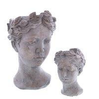 Pflanzkopf Thalia antik-grau  73538 ca.12x11x16,5cm  Beton