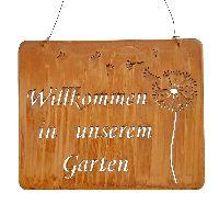 Rostschild Willkommen...Garten Willkommen in unserem Garten 31xH25cm +25cm Hänger 560264