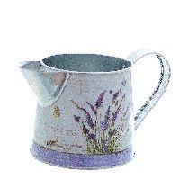 Giesskanne Lavendel FLIEDER-WEISS 77666 L18xØ9,5xH10cm Metall Kanne