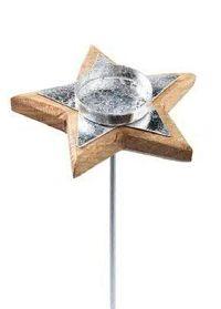 Kerzenhalter Stern mit Stab Holz-Metall Kerzenöffn.Ø5cm Stern Ø13cmx2,5cm GL=32cm