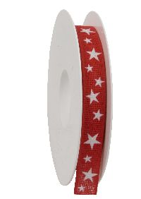 Band Funkelsternchen ROT-WEISS 454a 20 01 B15mm L20m Baumwollband